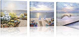 Natural art Seascape in The Yard Canvas Painting Abstract Artwork Posters and Prints Framed for Living Room Kitchen Office Bar Wall Decor 12x12Inchx3Panels