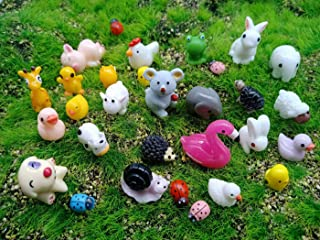 Kbraveo 45Pcs Mini Animals Miniature Ornament Kits Set for DIY,Fairy Garden Dollhouse Décor(Elephants,rabbits,hedgehogs,hens,bunnies,cubs,chicks,bees,cows,frogs,snails,turtles,puppies,pigs,sheep deer,
