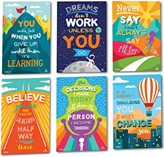 Sproutbrite Classroom Decorations - Motivational Posters - Educational and Inspirational Growth Mindset for Teacher and St...