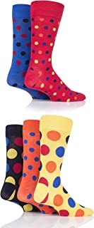 Mens 5 Pair SockShop Bamboo Socks (7-11, Polka Dot Classic B