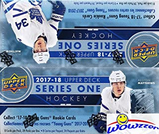 2017/18 Upper Deck Series 1 NHL Hockey MASSIVE Factory Sealed 24 Pack Retail Box with 192 Cards & Game Jersey Card! Includes 6 Young Guns Rookies,3 Canvas Cards & 3 Portrait Inserts! Awesome! WOWZZER!