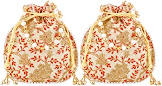 Heart Home Ethnic Clutch Silk 2 Pieces Potli Batwa Pouch Bag with Beadwork Gift for Women (Cream) - CTHH13578