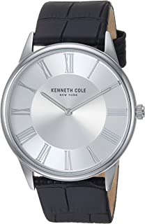 Men's Classic Stainless Steel Japanese-Quartz Watch with Leather Strap, Black, 22 (Model: KC50915001)