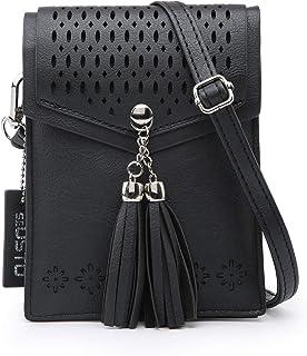 seOSTO Womens Small Crossbody Bag, Tassel Cell Phone Purse Holder Wallet