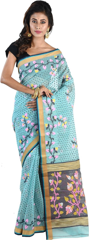 Ruprekha Fashion CottonSilk Greenish bluee Minakari Dhakai Jamdani Handloom Saree