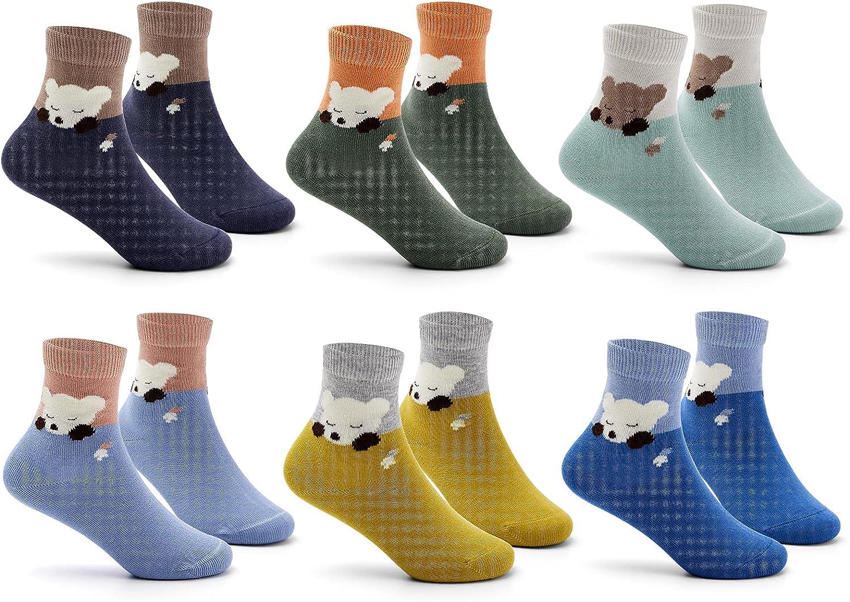 Boys Cotton Crew Socks Kids Seamless Dress Socks Cartoon Quarter Socks for Boys 6 Pairs