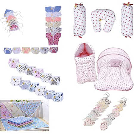 Fareto Baby's 45 in 1 Combo of Daily Needs Items in Single Packet (Multicolour, 0-6 Months) -Set of 45 Items