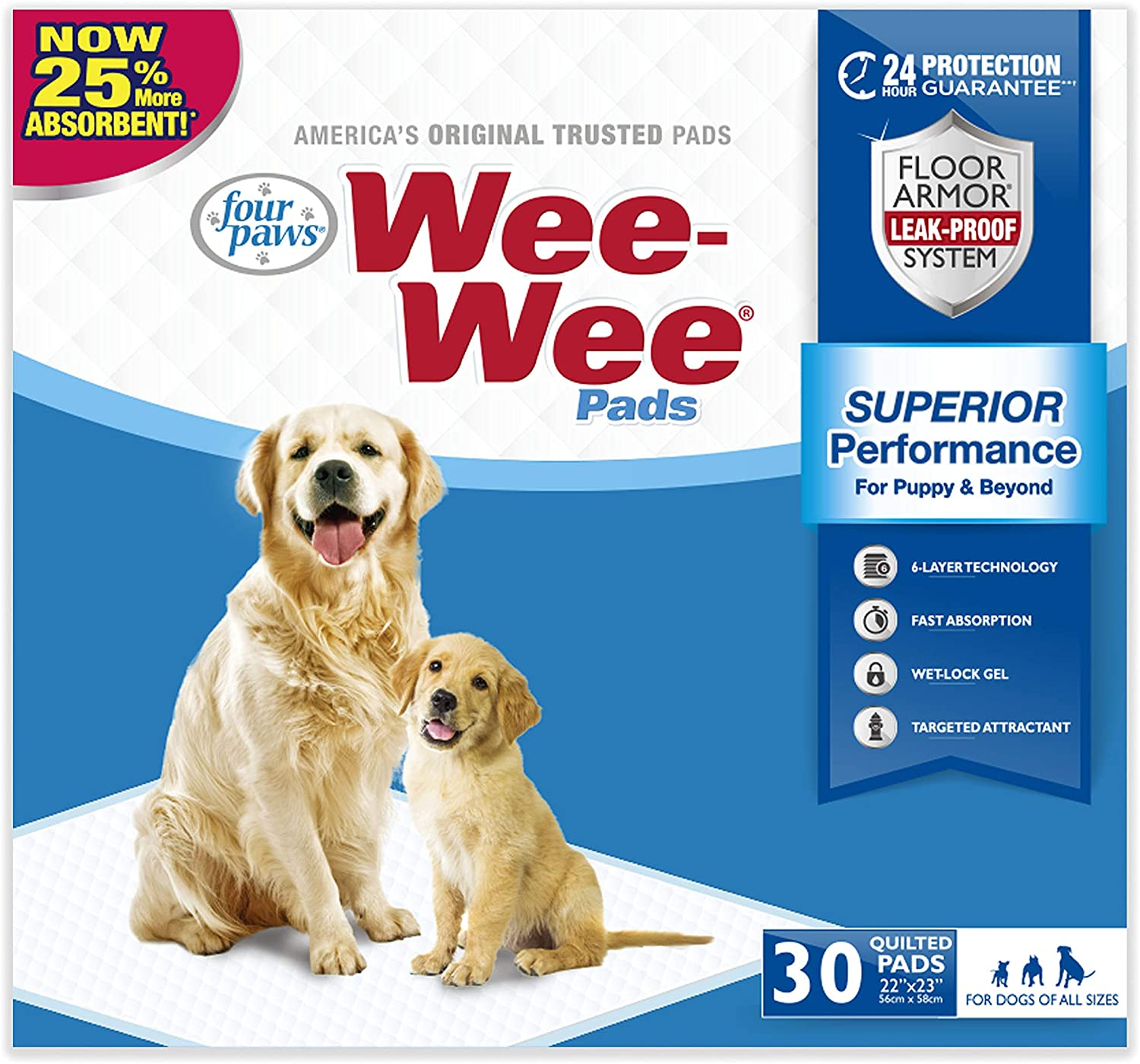 Wee -Wee Standard Size Puppy Pads for Dogs, 30 Count