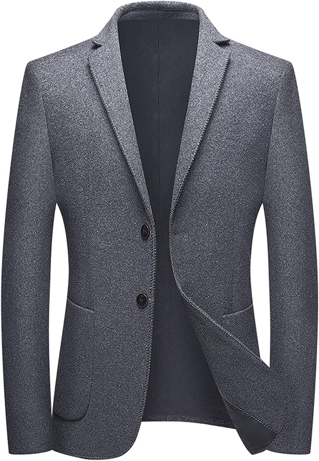 Men's Casual Blazer Wool Blend Notched Lapel Single Breasted Slim Fit Two Patched Pockets