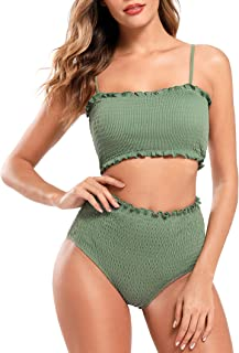 comprar comparacion SHEKINI Conjunto de Bikini Bandeau Fruncido para Mujer Traje de baño Fruncido de Dos Piezas Traje de baño de Bikini de Cin...