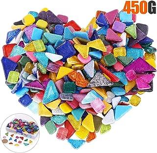 Rustark 450g/230 Pieces Assorted Colors Mosaic Tiles Irregular Shape Glitter Bulk Crystal Mosaic Assortment Crafts Supply with Storage Case for Home Decoration Handmade DIY Arts
