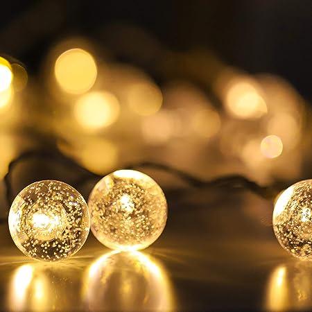 Guirlande Lumineuse à LED, à Piles, 20 Globes à Bulles Décoratifs, Lumière Blanche Chaude et Brillante, Fonctions Multiples, avec Minuterie d'économie de Batterie, 3M
