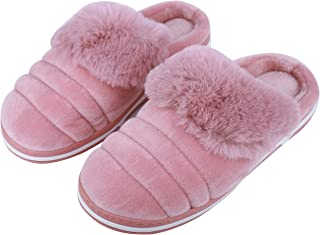 IRSOE Comfortable Winter Fur Slippers Winter Indoor/Outdoor Non-Slip Warm Home Plush Cotton Slippers Women & Girls (Pink)