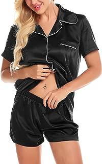 Women Pj Shorts Set Satin Button Down with Pockets Soft Summer Nightwear 2 Piece