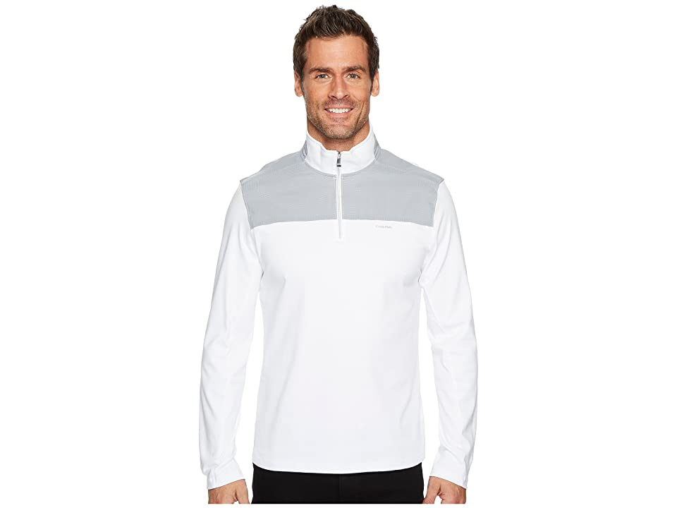 Calvin Klein Mixed Media 1/4 Zip Pullover (Standard White) Men