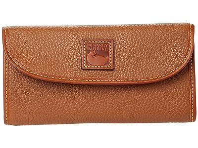 Dooney & Bourke Pebble II Continental Clutch (Caramel/Brandy Trim) Clutch Handbags
