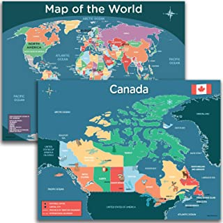 Canada Map and World Map Poster for Kids - 2 Pack Wall Decoration includes a Map of Canada and a World Map for Classroom D...