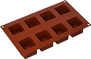 Silikomart SF104 Silicone Cube Cake Mould, 50 x 50mm, Terracotta