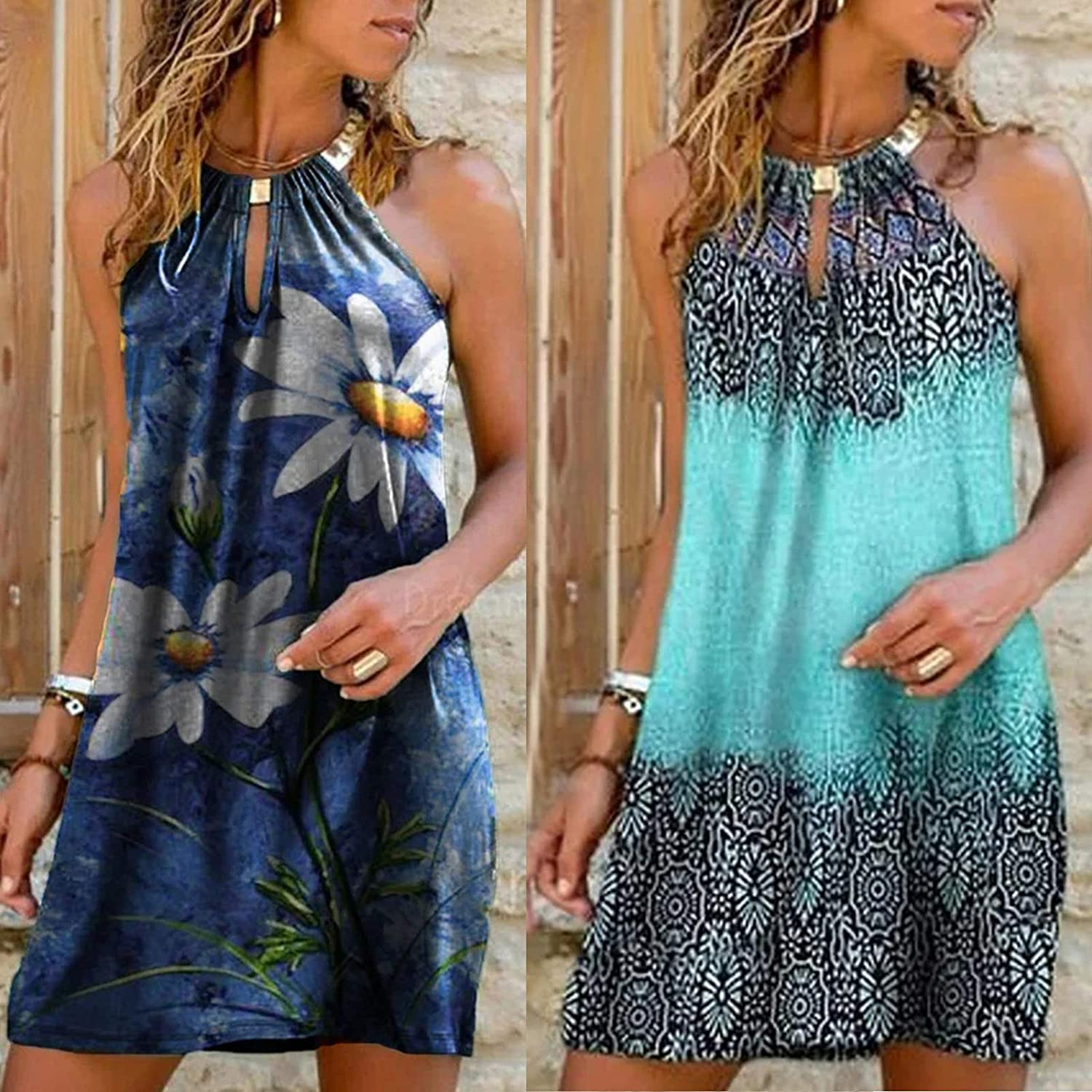 Toeava Womens Swing Dress Summer Daily Casual Strapless Metal Hanging Neck Flowy Printed Dress Party Tank Mini Dress