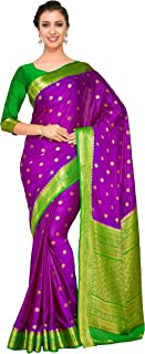 Art Crape Silk Wedding Saree Kanjivarm Pattu Style with Contrast Blouse Color: Purple (4272-2271-2D-MEJ-GRN)