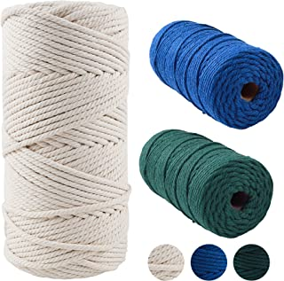 Macrame Cord Set - Comes with 3 Bow-Knots, 30 Buttons, 30 Wooden Clips, 8 Rolls of Macrame Cords in Different Sizes & Colo...
