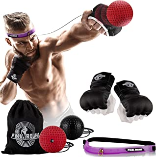 Final Round Gel Padded Inner Boxing Gloves with 2 Difficulty Level Reflex Ball Set, Fast Hand Wraps, Adjustable Headband, Improve Punching Speed, Agility, Reaction, Hand Eye Coordination - Medium