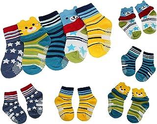 5 pares de calcetines antideslizantes para bebé con diseño de osos y estrellas, para niños y niñas, para niños de 1 a 3 años