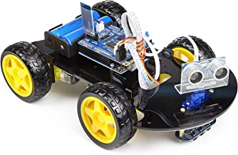UCTRONICS Smart Bluetooth Robot Car Kit - UNO R3 for Arduino, Line Tracking, Ultrasonic Sensor, HC-05 Bluetooth, L239D Motor Shield, IR Remote Control, Mobile APP - Charger Included