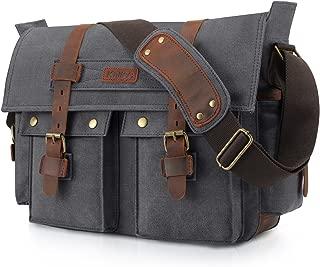 Kattee Unisex's Classic Canvas Shoulder Messenger Bag Leather Straps X-Large (Dark Gray)