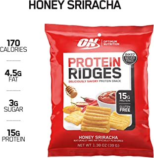 New! Optimum Nutrition High Protein Ridges, Baked Chips, Savory Snack To Go, Gluten Free, Soy Free, Flavor: Honey Sriracha, 10 Count