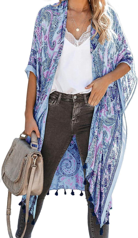 ROSKIKI Womens Summer Boho Print Chiffon Kimono Beach Cover up Cardigans with Tassel Bikini Swimwear