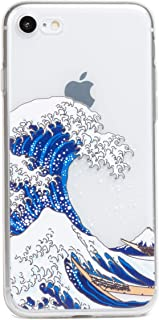 ZUKOU Phone case for iPhone 8 and iPhone 7 Clear Protective Soft TPU case with Design Japanese Art Ukiyo-e Printed The Gre...