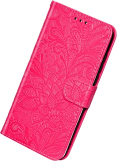 Herbests Compatible with Huawei Y9 2018 Wallet Case Lace Mandala Flower Embossed Premium Leather Stand Flip Full Body Protective Cases Cover Credit Card Slot Magnetic Closure,Rose Pink