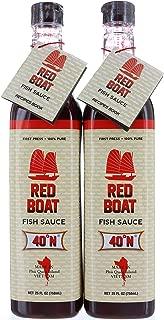 2 Bottles, Red Boat 40°N Vietnamese Fish Sauce 25 FL/750mL, First Press & 100% Pure, Gluten Free, No Shellfish
