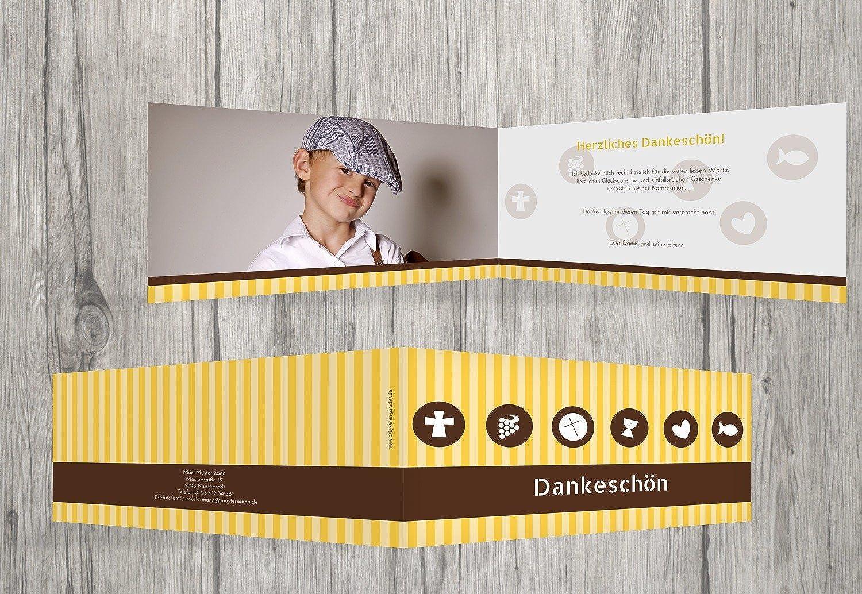 Kartenparadies Dankeskarte Kommunionswünsche Kommunion Danke stripes-buttons, stripes-buttons, stripes-buttons, hochwertige Danksagung für Kommunionsfeier inklusive Umschläge   10 Karten - (Format  215x105 mm) Farbe  SoftGelbOrange B01N7Y4TPU | Günstige  | Verpackungsvielf a387d5