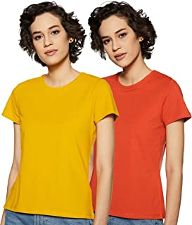 Amazon Brand - Symbol Women's solid Plain Regular fit T-Shirt (Pack of 2) (RN-PO2-COMBO30_Mustard Burnt Orange_XXL)