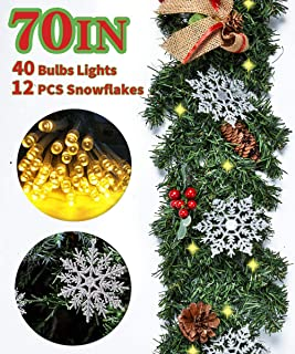 Kenme Christmas Garland with Lights Xmas Decor Wreath for Front Door, Christmas Decorations Garland Kit Bows, Red Berries, Pine Cones Ornaments (70 '' Garland; 157 '' Lights; 12 PCS Silver Snowflake)