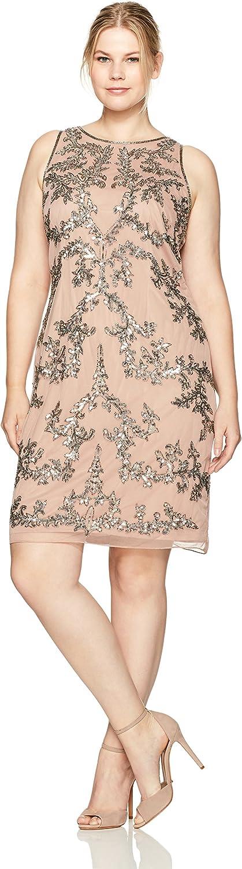 Adrianna Papell Womens Sleeveless Beaded Short Dress Plus Dress