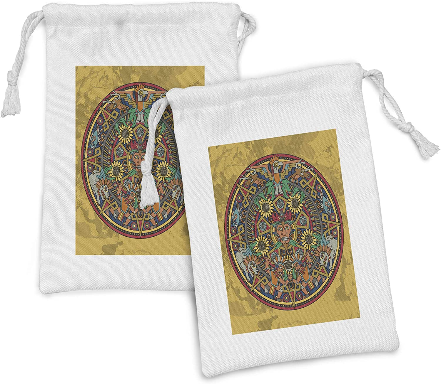 Ambesonne Same day shipping Rapid rise Tribal Fabric Pouch Set of Chaotic 2 wit Image Design