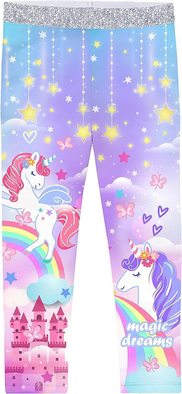 Girls Stretch Unicorn Mermaid Yoga Leggings Kid Rainbow Skinny Dance Tights Long Pants