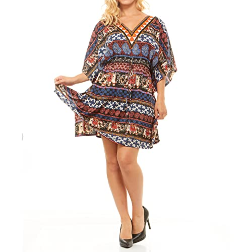 0892cd70202 Just One Summer Dress Boho V Neck Drawstring Maxi Mini Kaftan Dress Cover up