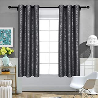 Melodieux Thermal Insulated Room Darkening Blackout Curtains for Living Room Bedroom, Silver Trellis Grid Print Grommet Dr...