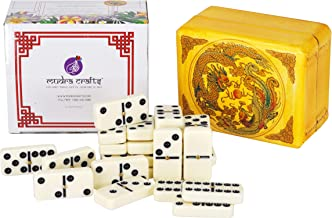 Mudra Crafts Dominoes Double 6 Game Set with Chinese Wood Dragon Gift Box for Adults and Kids; 28 Tile Pieces