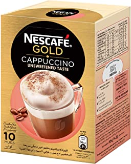 NESCAFE GOLD CAPPUCCINO unsweetened Instant Foaming Coffee Mix - 14.2 gm x 10 Sticks
