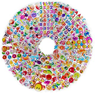 Roberly Kids Stickers 60 Different Sticker Sheets, 3D Puffy Stickers, 1200 + Cute Cool Bulk Stickers for Kids - Including Animals, Fruits, Fishes, Smiley Faces, Alphabet, Numbers
