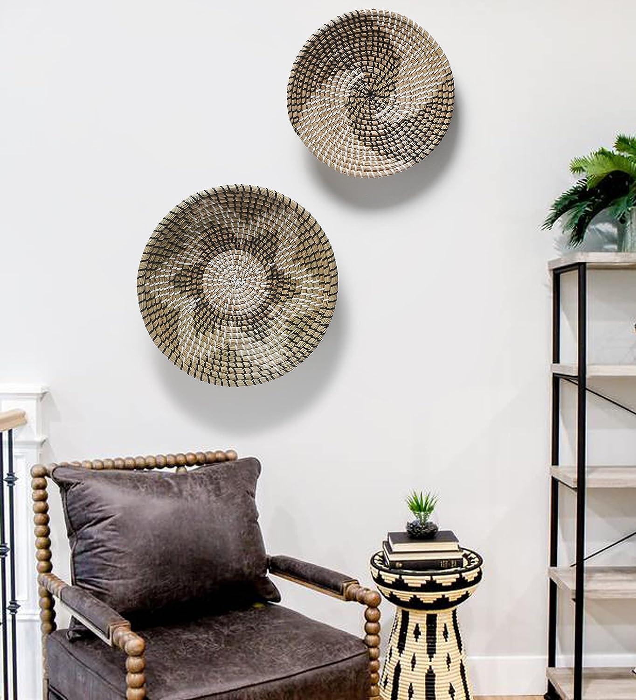 Wicker Basket Wall Decor Handmade Woven Wall Hanging Round Boho Wall decor Wicker Tray Fruit Bowl Decorative Bowl Set of 2