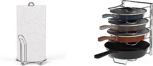 lowest Simple new arrival Houseware Chrome Paper Towel Holder + online sale 5 Adjustable Compartments Pan and Pot Lid Organizer online