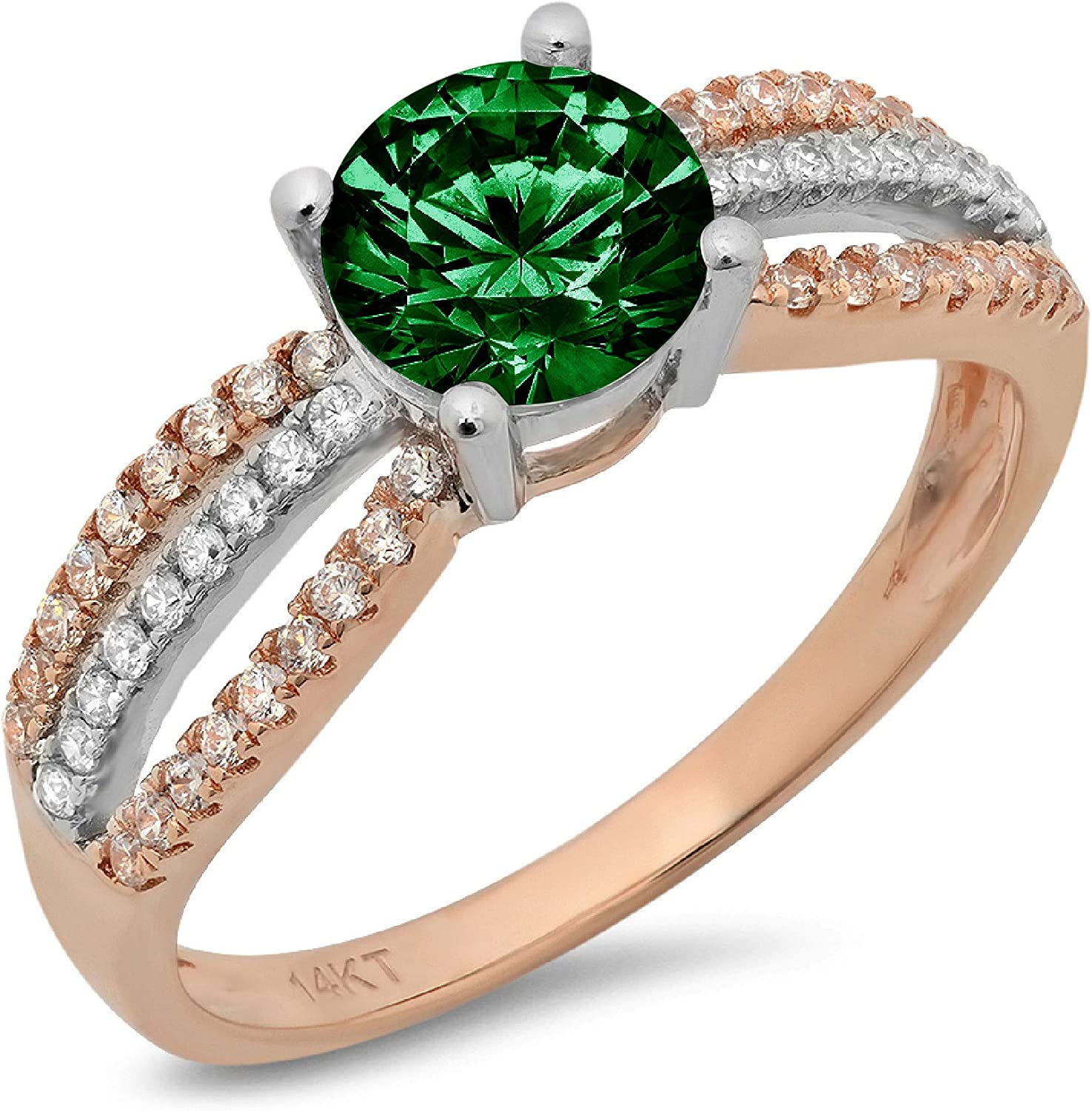 1.25 ct Round Cut Solitaire Accent Genuine Flawless Simulated Emerald Gemstone Engagement Promise Statement Anniversary Bridal Wedding Accent Ring Solid 18K 2 tone Gold