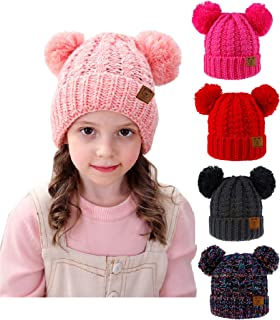 Urban Virgin Baby Girl Kids Hats Infant Toddler Beanies Cable Knit Pom Pom Ears Winter Cap Hats for Girls 1-5 Years