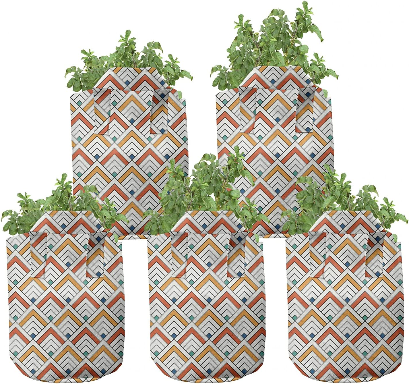 Ambesonne Abstract cheap Grow Bags Beauty products 5-Pack Square Chevron Art Modern